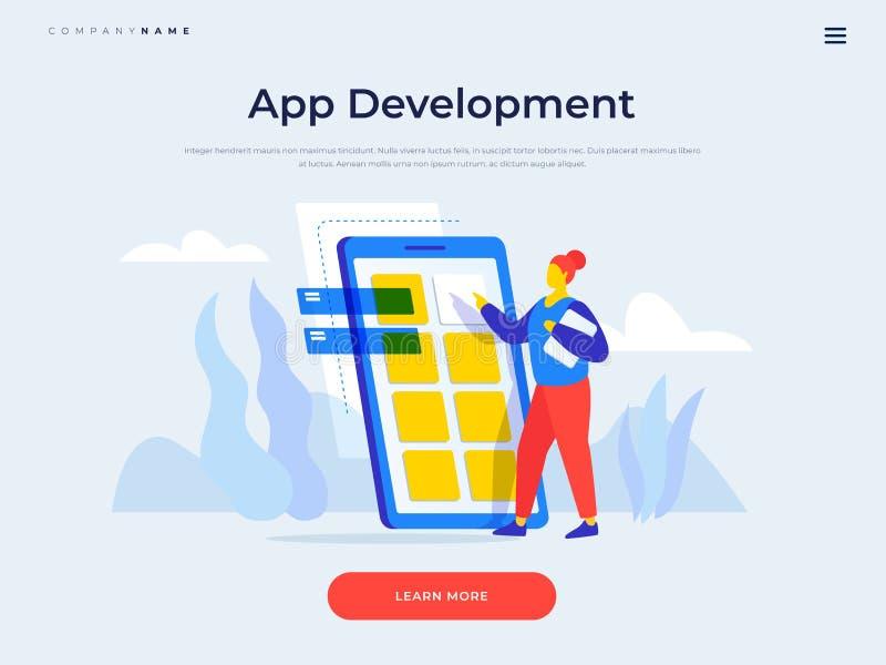 Page d'atterrissage pour le site Web élégant drapeau Concept de développement d'applications mobile illustration libre de droits