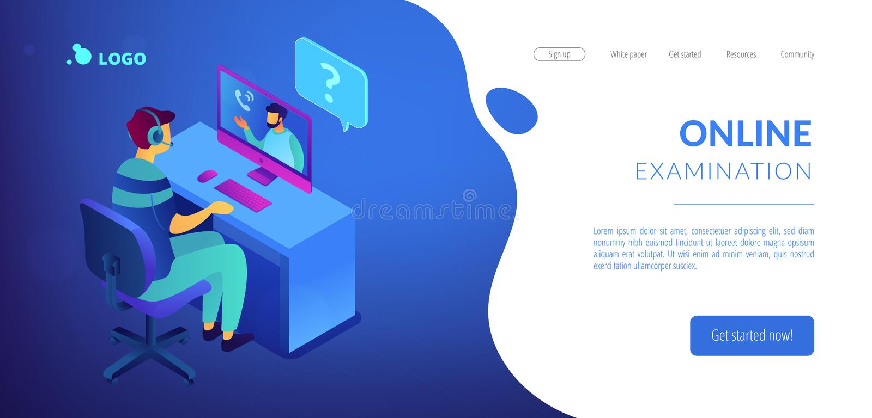 Page 3D de débarquement isométrique d'entrevue de travail en ligne illustration de vecteur
