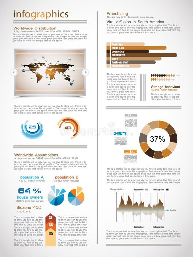 Page d'Infographics avec beaucoup d'éléments de conception illustration de vecteur