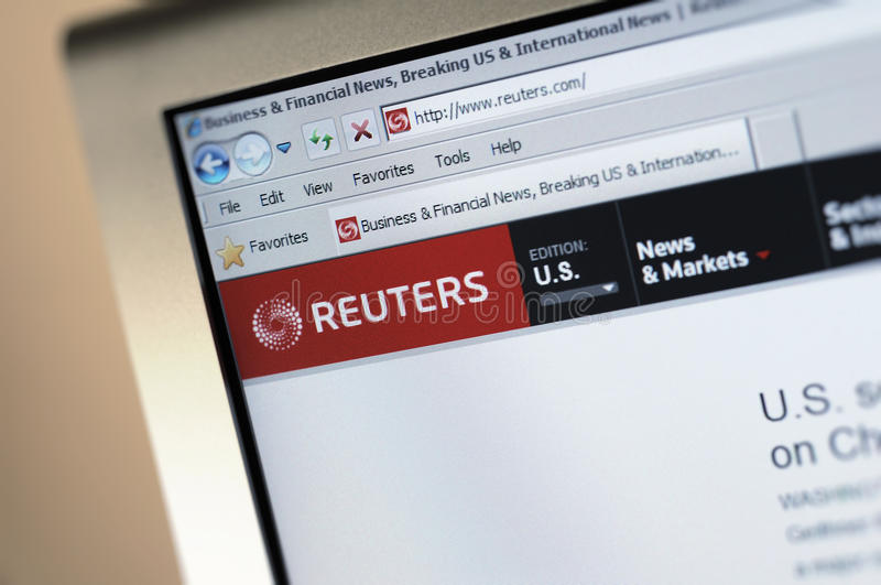 page d'Internet principale de Reuters.com image stock