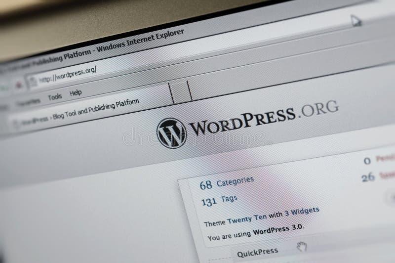 page d'Internet principale de Wordpress.org image libre de droits