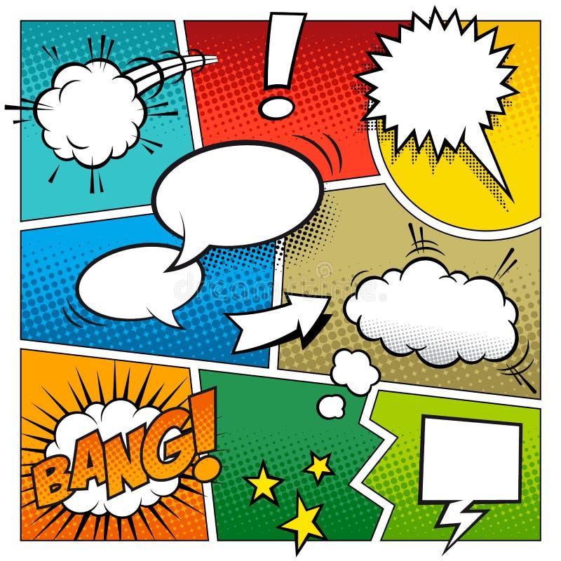 Page de bande dessinée de vecteur de couleur illustration stock