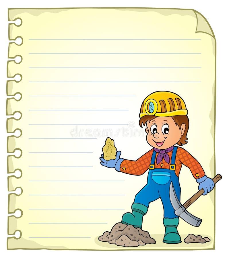 Page de bloc-notes avec le thème 1 de mineur illustration stock