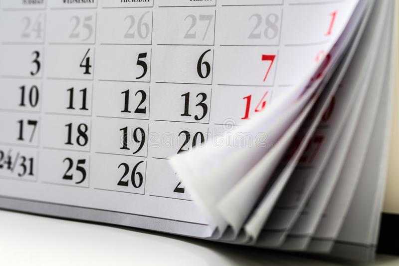 Page de calendrier E photos libres de droits