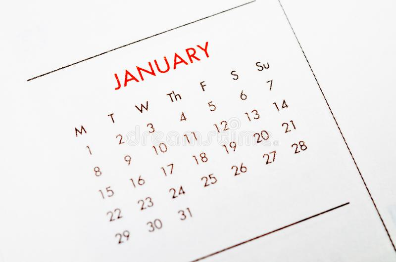 Page de calendrier de janvier photo stock