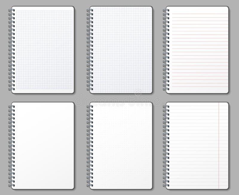 Page de carnet Les pages rayées et pointillées, carnets binded sur la spirale en métal et le vecteur capitonné de calibre de maqu illustration libre de droits