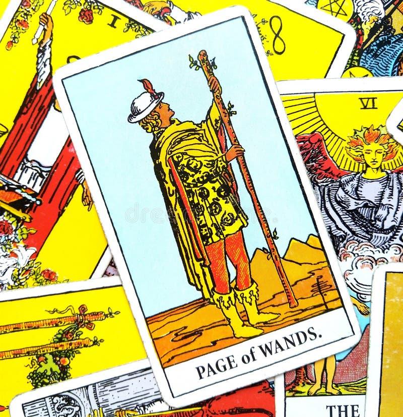 Page de carte de tarot de baguettes magiques illustration stock