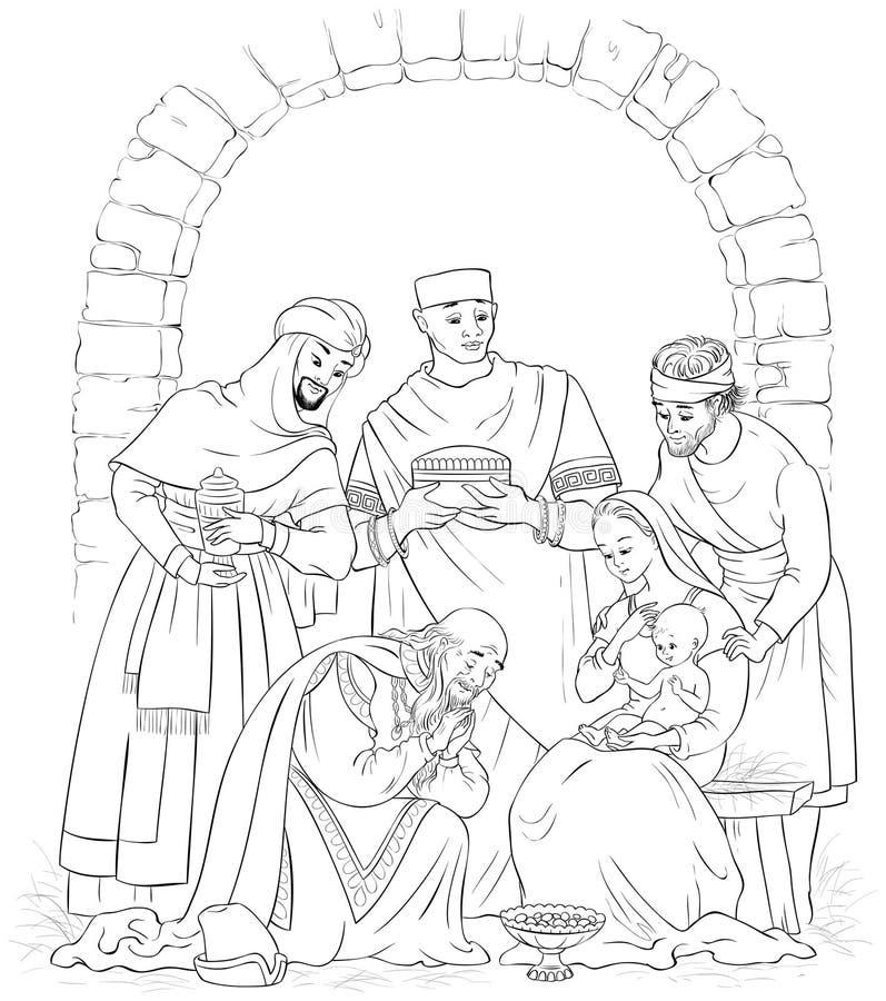 Page de Christian Christmas Nativity Scene Coloring Jésus, Mary, Joseph et les trois rois illustration de vecteur