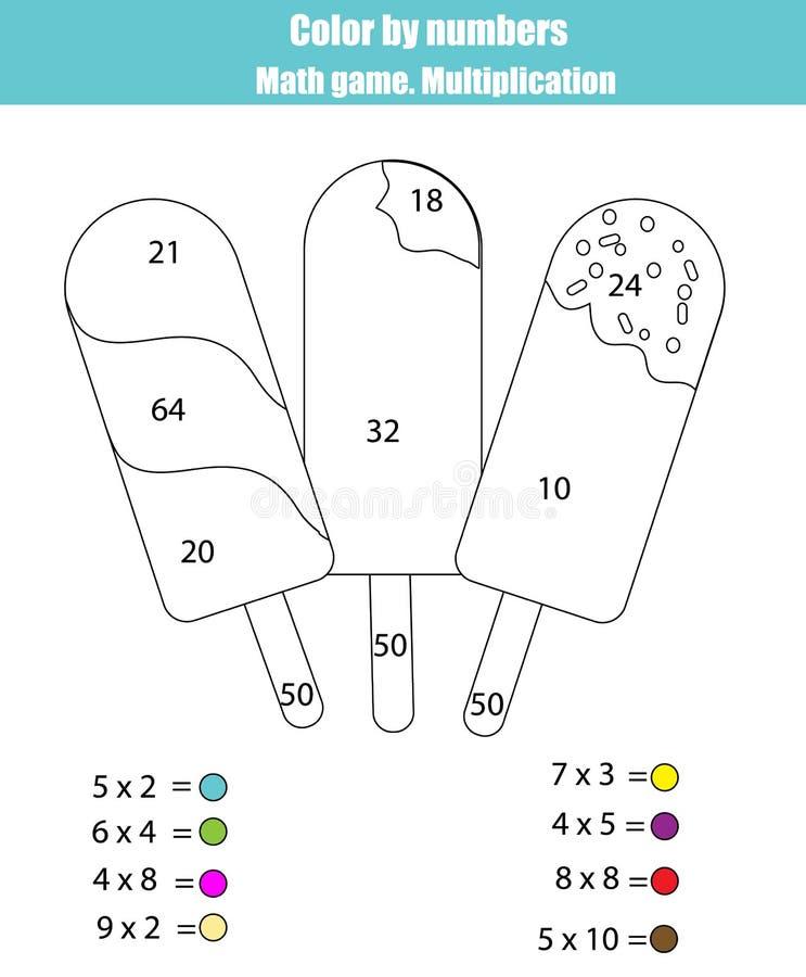 Page de coloration avec de la glace à l'eau de crème glacée  Colorez par le jeu de maths de nombres, multiplication illustration stock