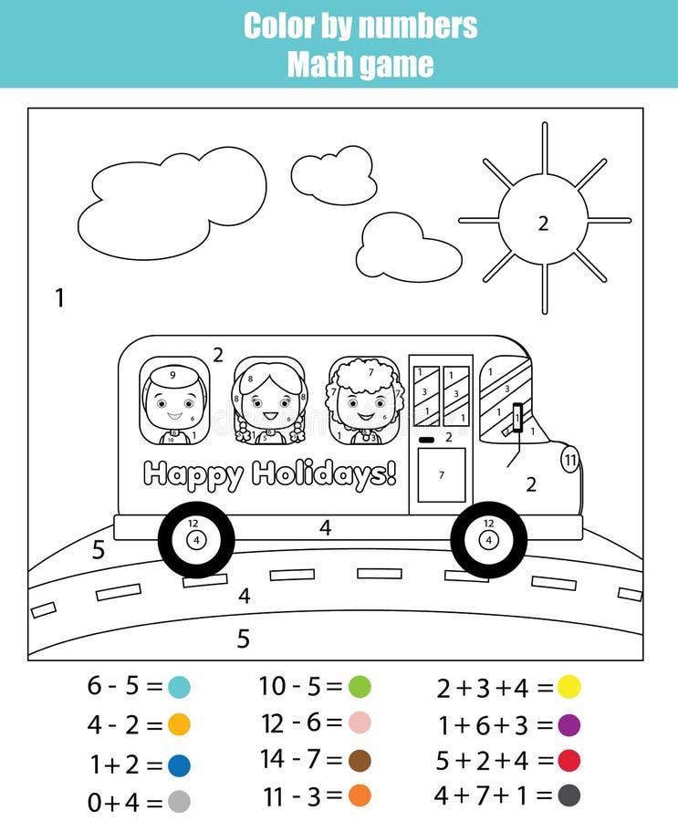 Page de coloration avec des enfants dans l'autobus scolaire Colorez par le jeu de maths de nombres illustration libre de droits