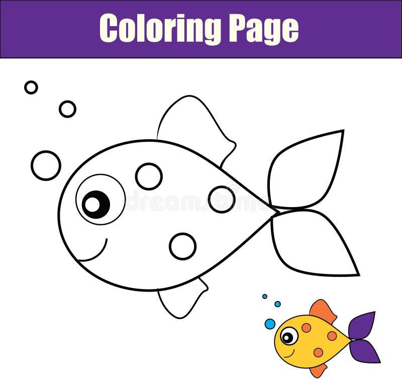 Page de coloration avec des poissons Le jeu éducatif, dessin imprimable badine l'activité illustration libre de droits