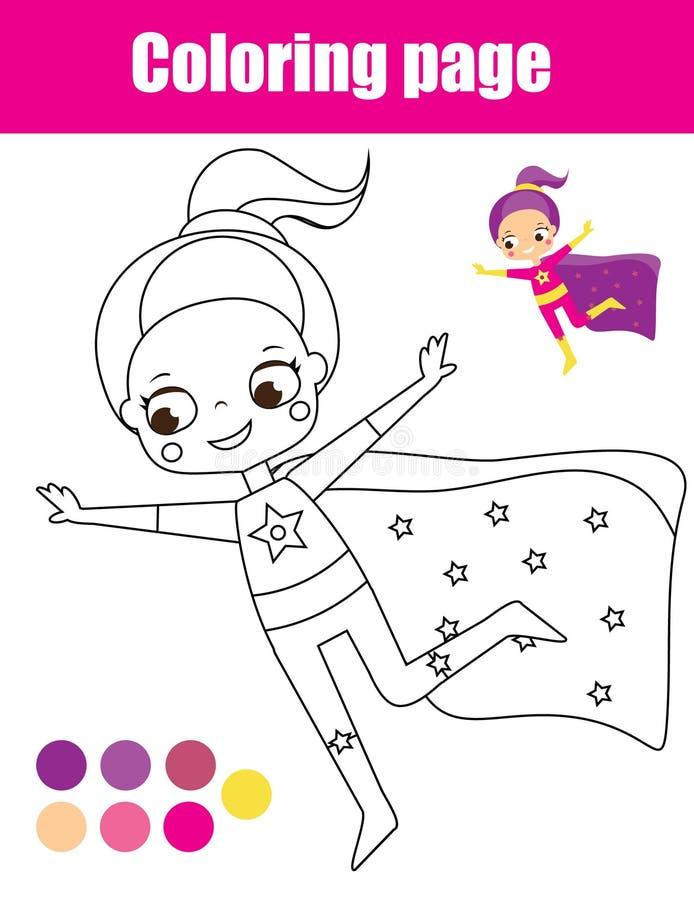 Page de coloration avec la fille de super héros Le dessin badine l'activité Amusement imprimable d'enfants en bas âge illustration de vecteur