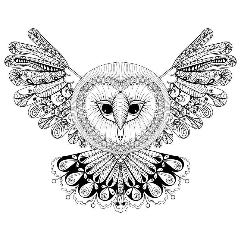 Page de coloration avec le hibou, illustration de dessin de main de zentangle, tri illustration libre de droits