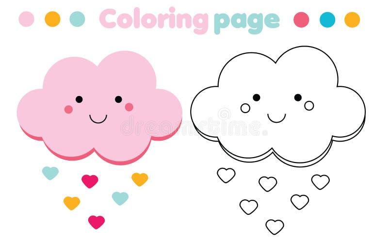 Page de coloration avec le nuage mignon Le dessin badine le jeu Activité imprimable illustration libre de droits