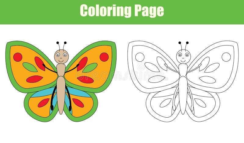 Page de coloration avec le papillon, activité d'enfants illustration libre de droits
