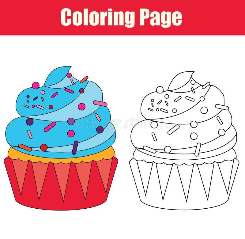 Page de coloration avec le petit gâteau illustration de vecteur