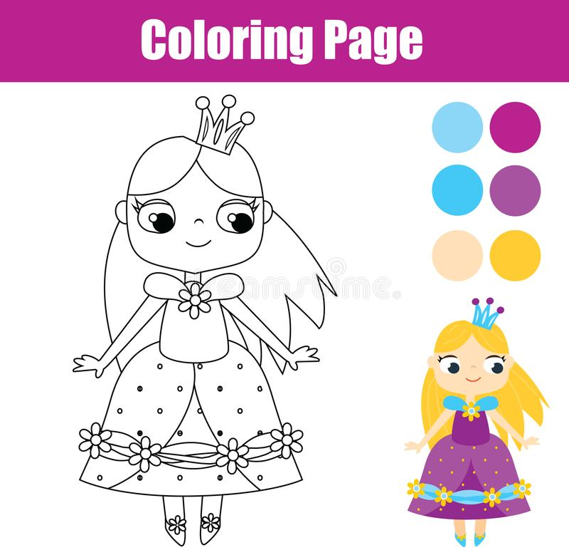 Page de coloration avec les prnicess mignons Jeu éducatif illustration stock