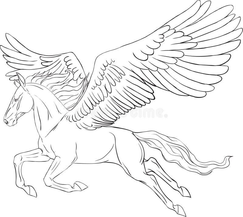 Page de coloration avec un Pegasus illustration stock