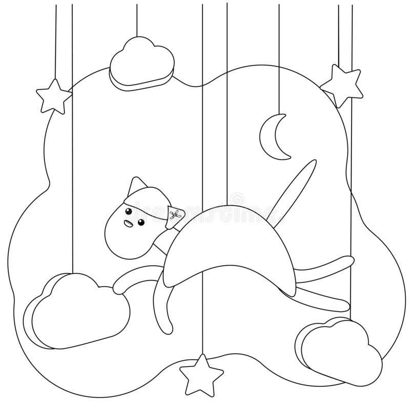 Page de coloration de chat de vol pour des enfants Loisirs ?ducatifs Animal d'illustration de vecteur pour livre de coloriage Cha illustration stock