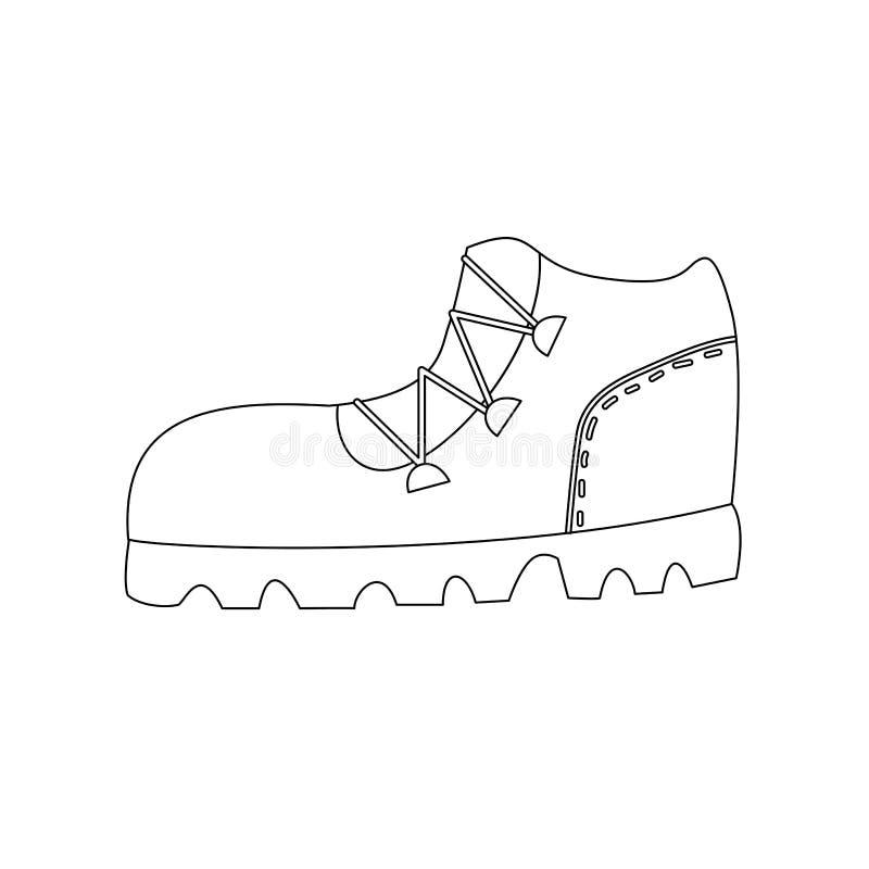 Page de coloration d'ensemble de botte de trekking illustration libre de droits