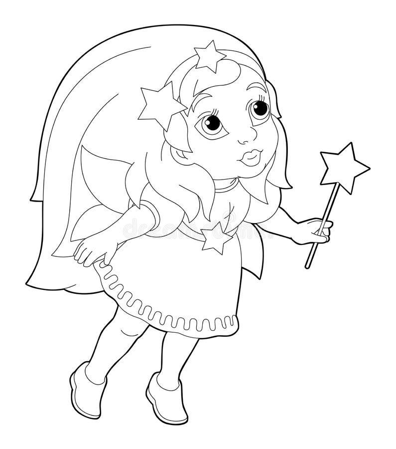 Page de coloration de bande dessinée d'un vol féerique tenant la baguette magique illustration de vecteur