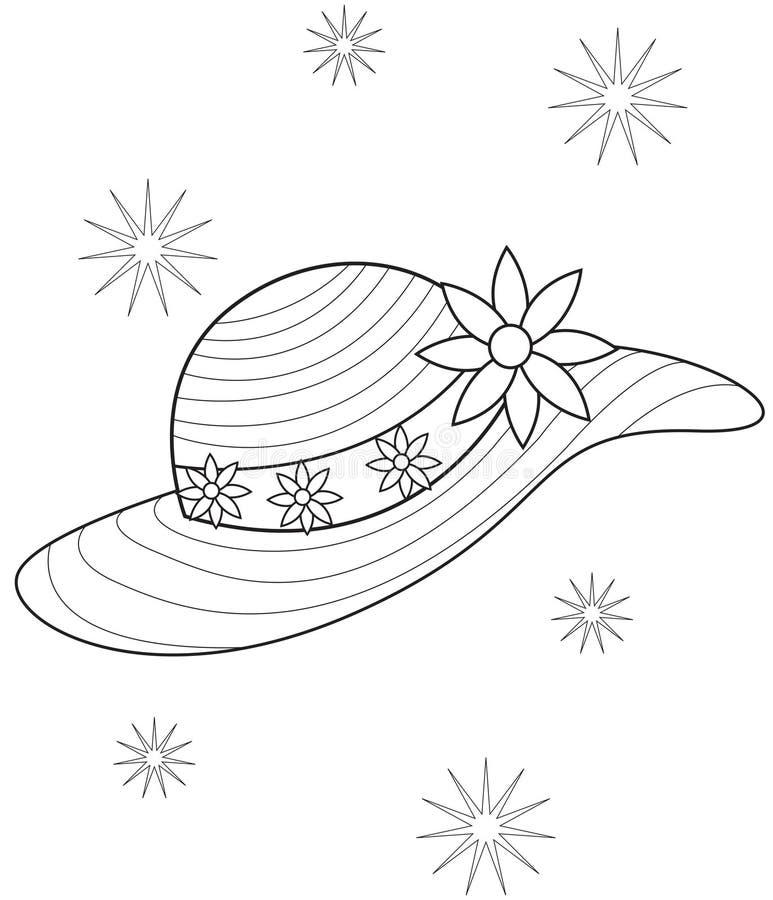Page de coloration de chapeau illustration de vecteur