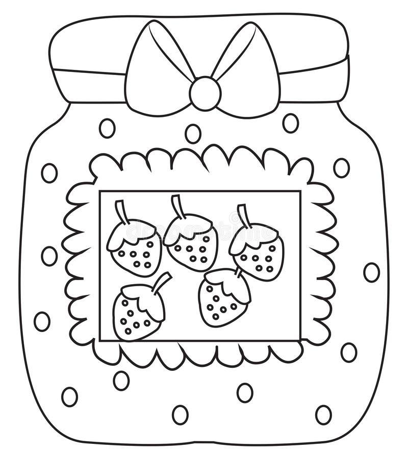 Page de coloration de confiture de fraise illustration stock