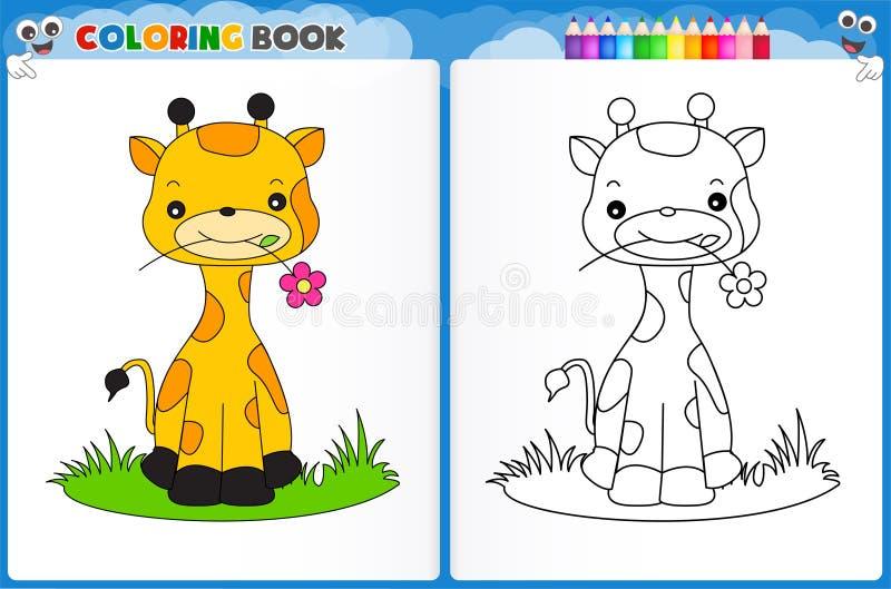 Page de coloration de girafe illustration libre de droits