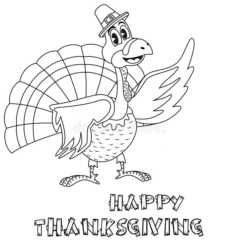 Page de coloration de la Turquie de thanksgiving illustration stock