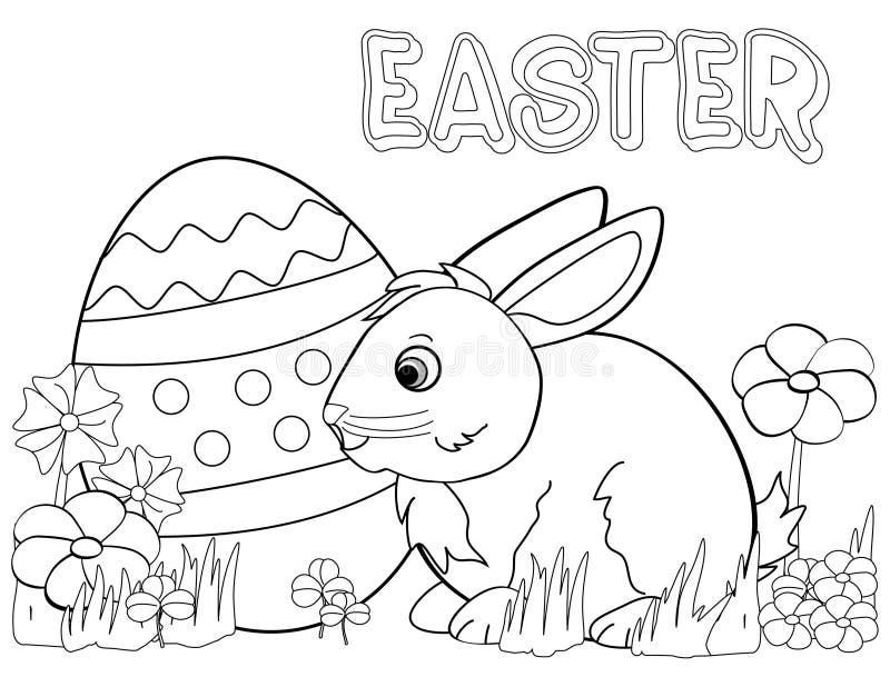 Page de coloration de lapin de Pâques illustration stock