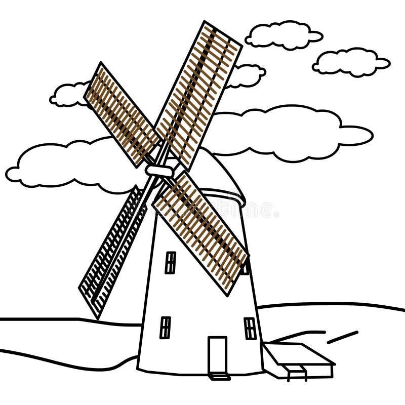 Page de coloration de moulin à vent illustration libre de droits