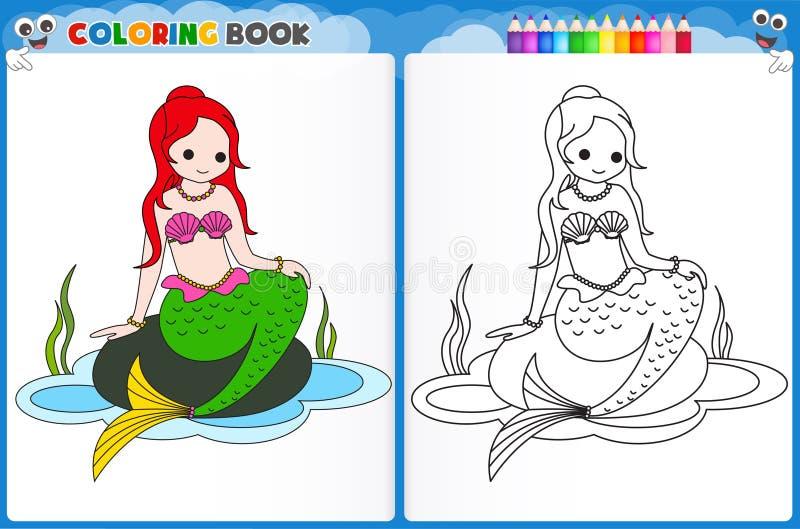 Page de coloration de sirène illustration de vecteur