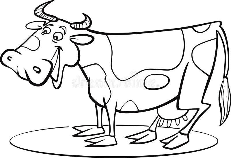 Page de coloration de vache à dessin animé illustration libre de droits