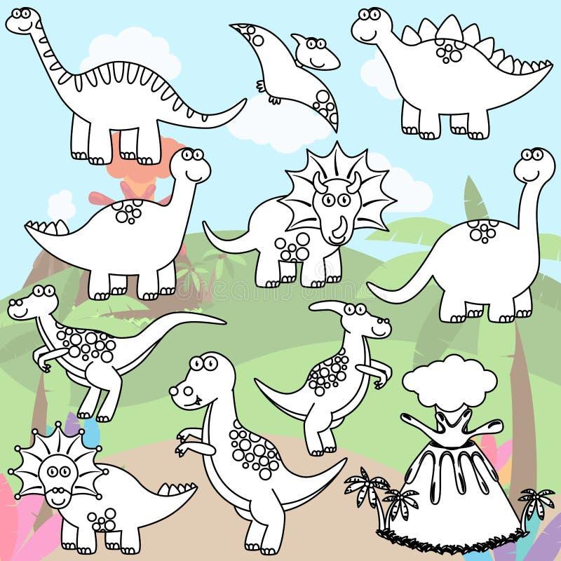 Page de coloration de vecteur de ligne Art Dinosaurs illustration stock