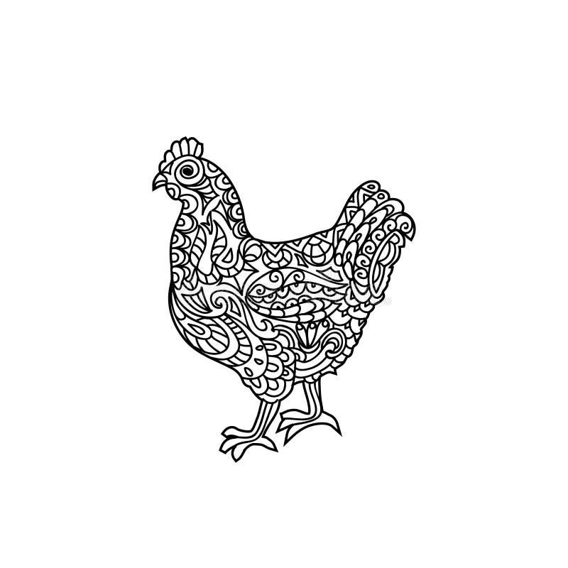 Page de coloration de zentangle de poule illustration de vecteur