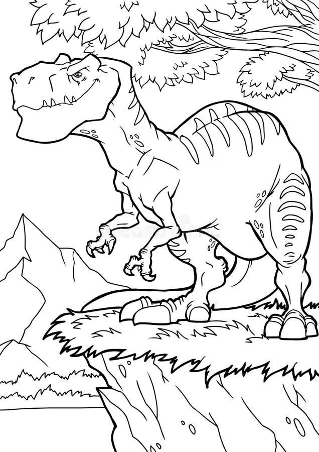 Page de coloration de dinosaure de bande dessin?e, tyrannosaure Illustration de vecteur, livre de coloriage pour des enfants illustration libre de droits