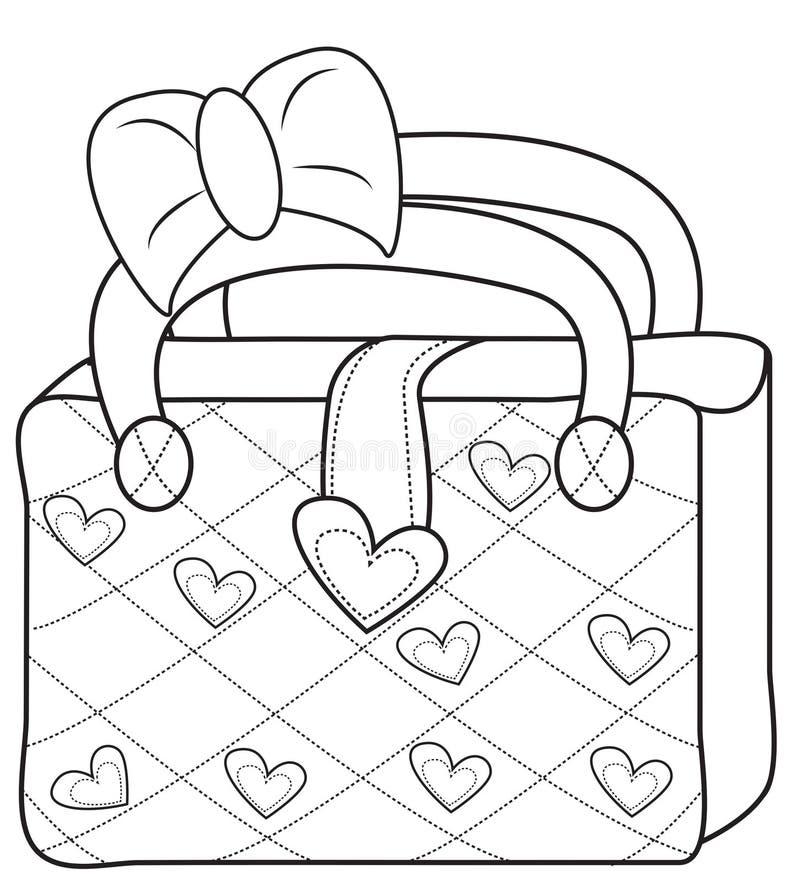 Page de coloration du sac des dames illustration stock