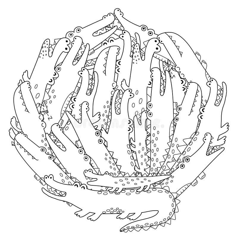 Page de coloration de forme de cercle avec crocodiles drôles illustration de vecteur