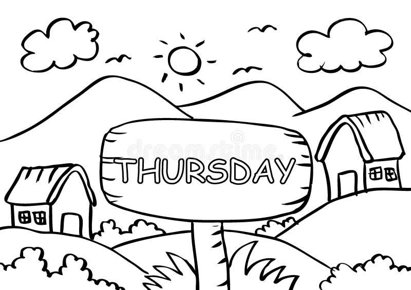 Page de coloration de jeudi avec la montagne de paysage illustration de vecteur