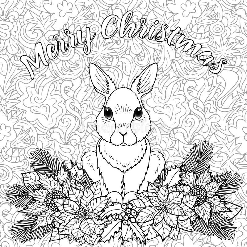 Page de coloration de Joyeux Noël avec le lapin illustration libre de droits