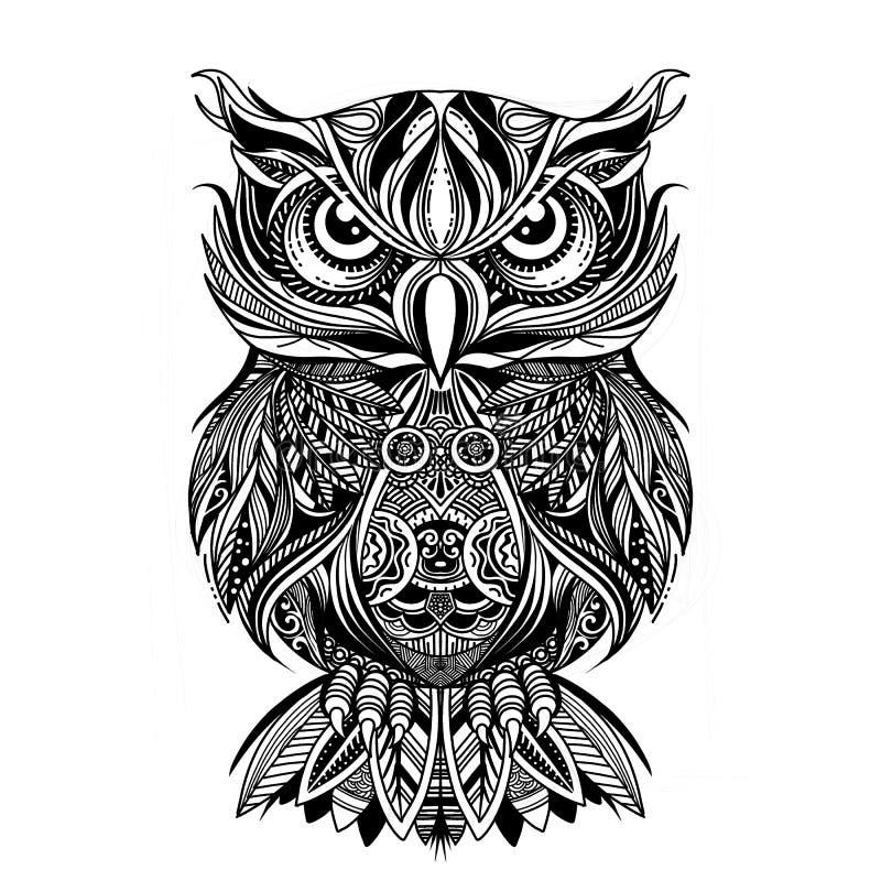 Page de coloration Livre de coloration Photo de coloration avec le hibou dessiné dans le style de zentangle Dessin de croquis à m illustration de vecteur