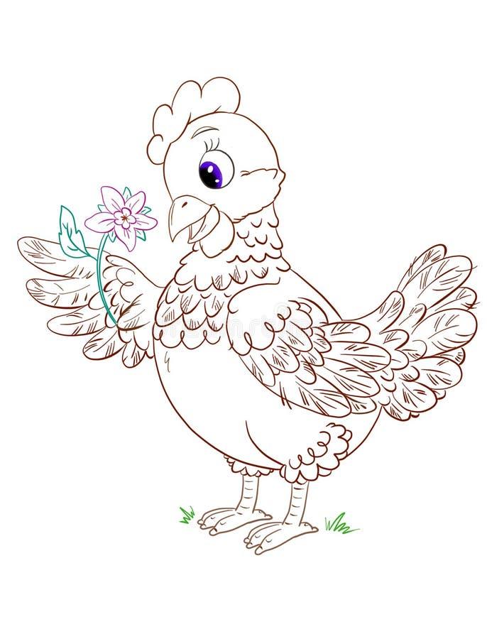 Page de coloration mignonne avec la poule de bande dessinée avec la fleur sur un fond blanc illustration de vecteur