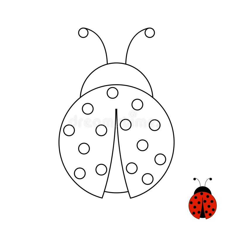 Page de coloration pour la coccinelle d'enfants illustration stock