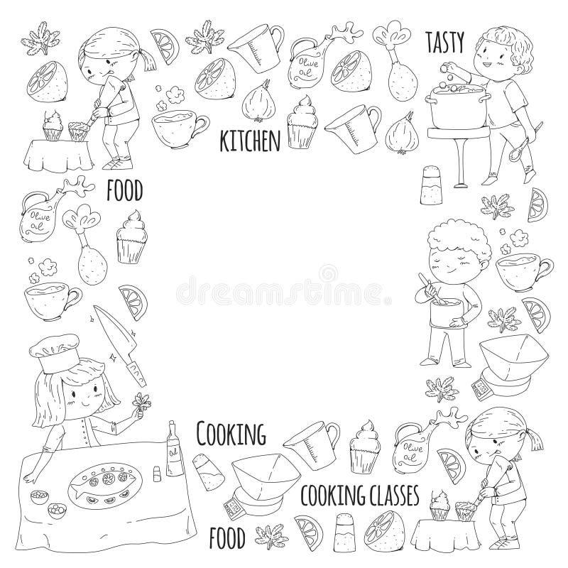 Page de coloration pour le livre kitchenware Cours de cuisine, cours pour des enfants et parents Configuration de vecteur illustration stock