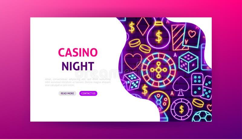 Page de débarquement au néon de nuit de casino illustration libre de droits