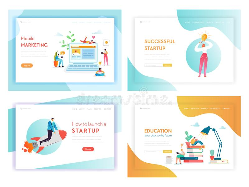 Page de débarquement de concept d'innovations d'affaires d'idée illustration de vecteur