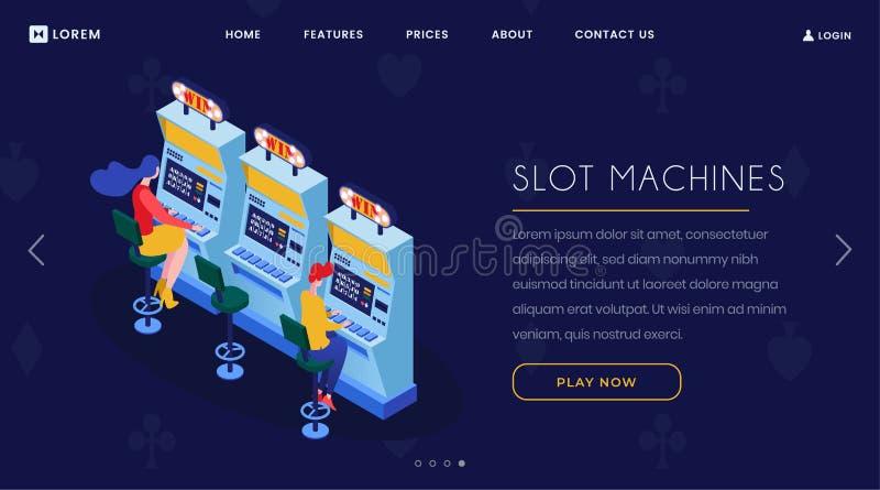 Page de débarquement isométrique de machines à sous de casino Joueurs jouant un bandit de bras, sept caractères chanceux de la co illustration libre de droits