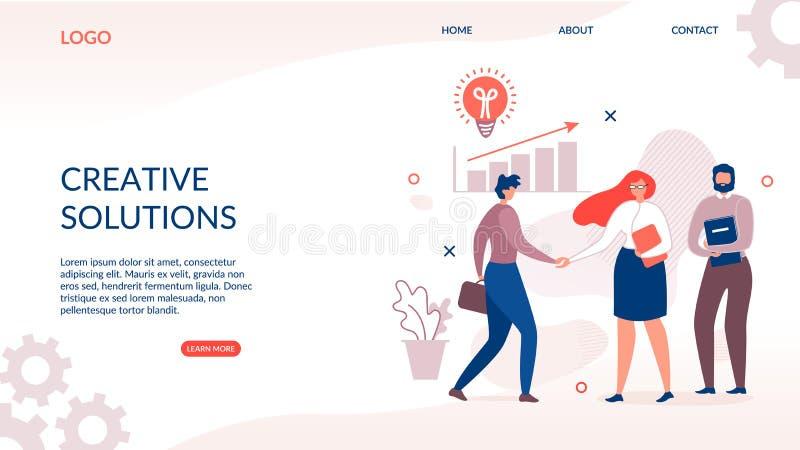 Page de débarquement pour la solution créative et innovatrice illustration libre de droits