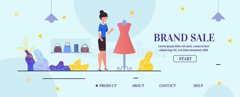 Page de débarquement présentant la vente de marque de magasin d'habillement illustration libre de droits