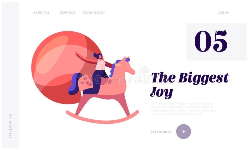 Page de débarquement de site Web de jouets d'enfants Femme montant le cheval en bois en jouant la chambre ayant la récréation et  illustration libre de droits